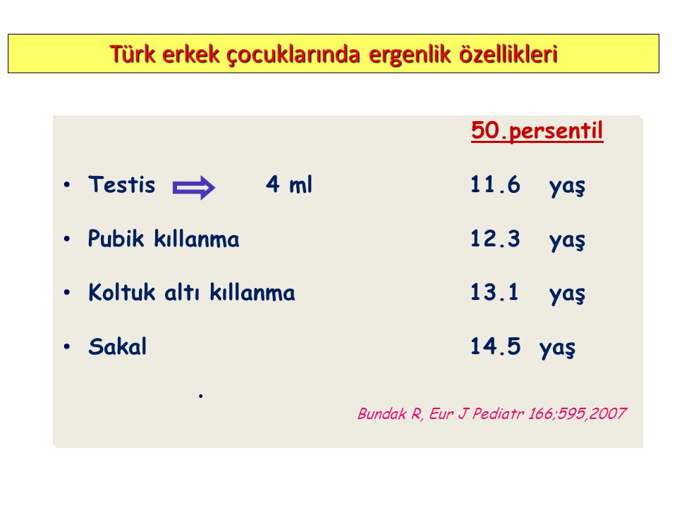 Türk erkek çocuklarında ergenlik özellikleri