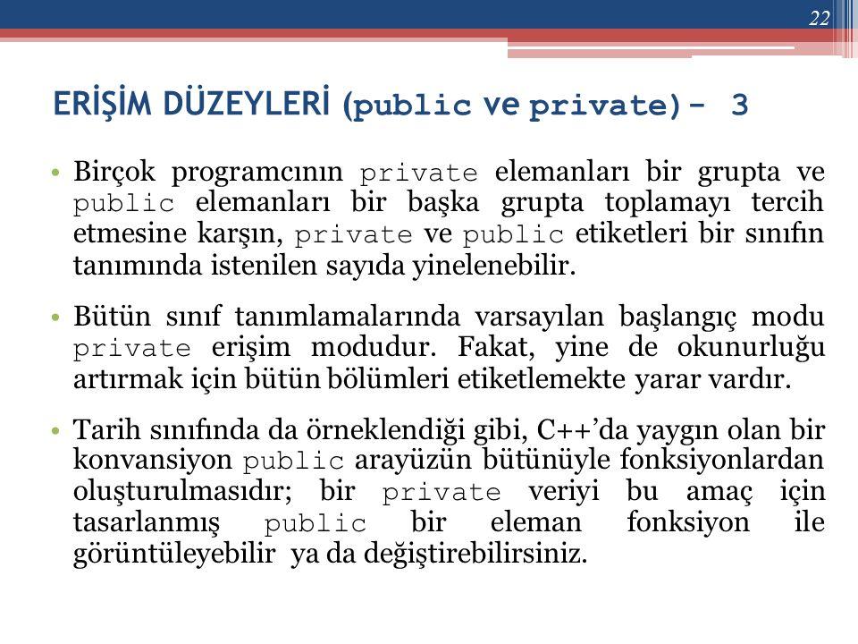 ERİŞİM DÜZEYLERİ (public ve private)- 3