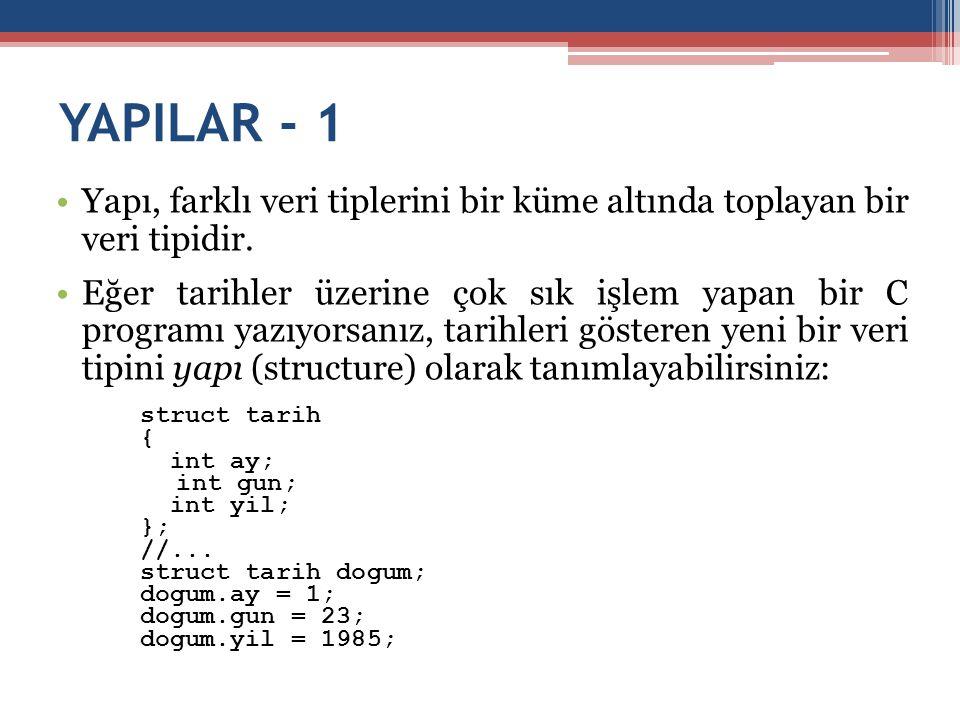 YAPILAR - 1 Yapı, farklı veri tiplerini bir küme altında toplayan bir veri tipidir.