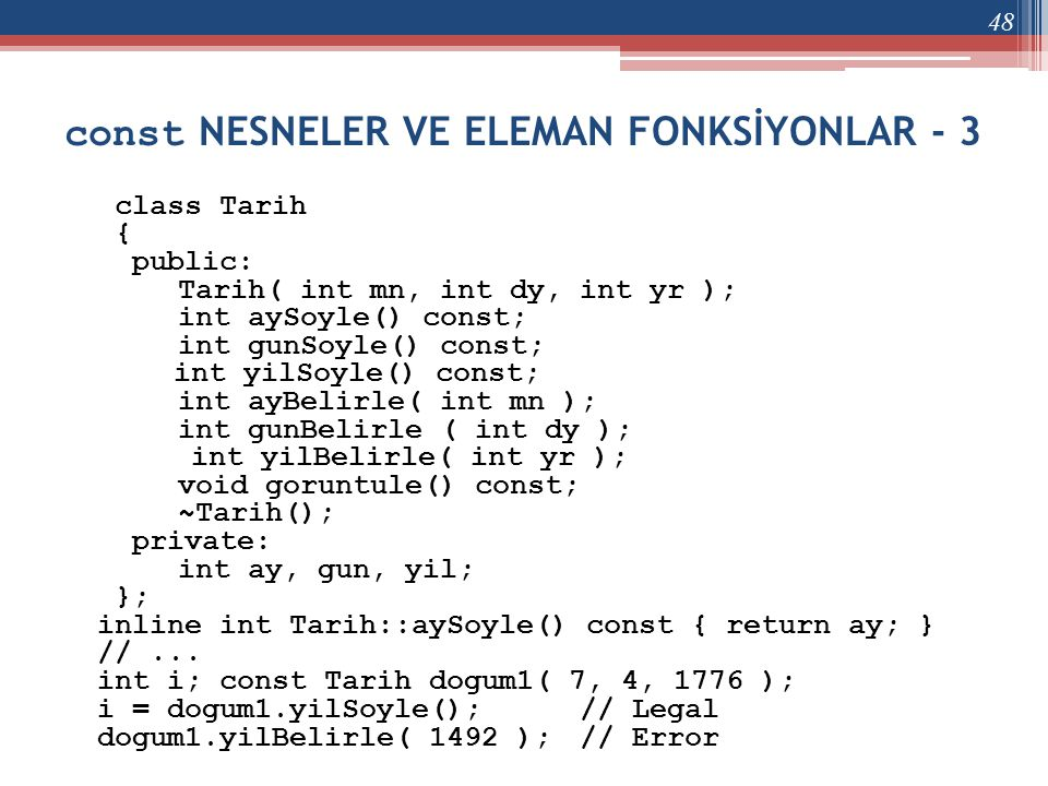 const NESNELER VE ELEMAN FONKSİYONLAR - 3