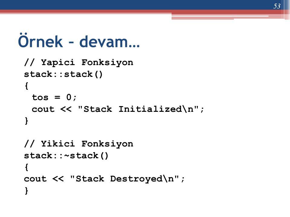 Örnek – devam… // Yapici Fonksiyon stack::stack() { tos = 0;