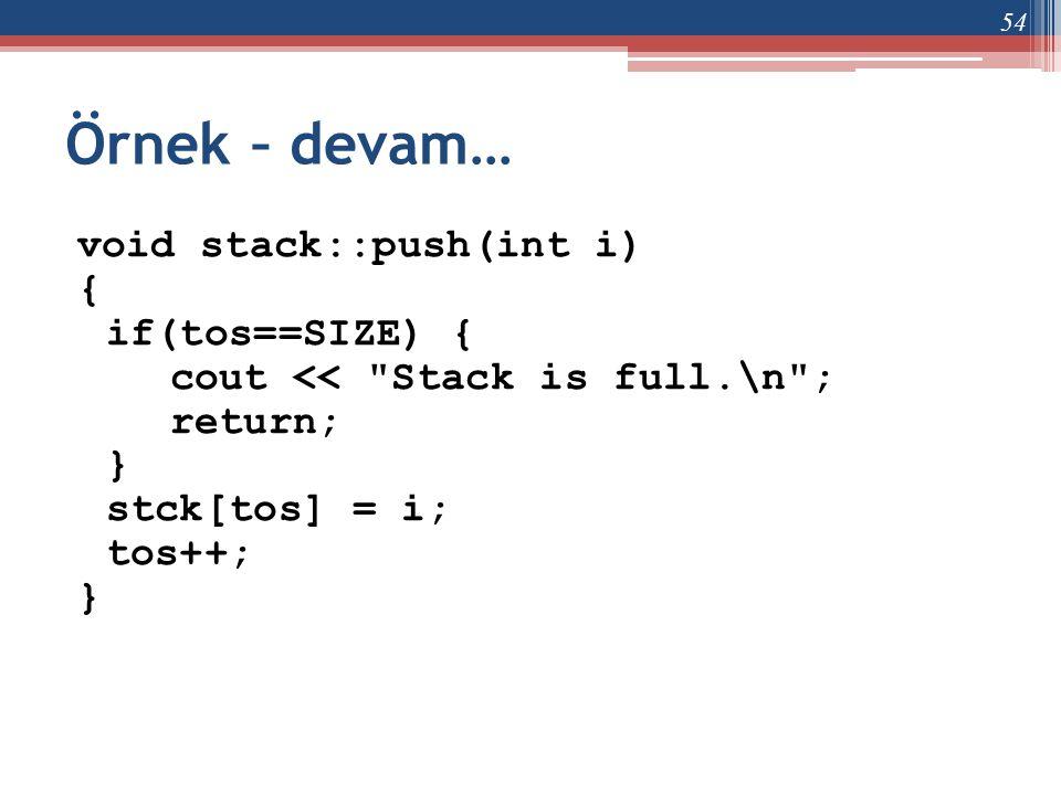 Örnek – devam… void stack::push(int i) { if(tos==SIZE) {