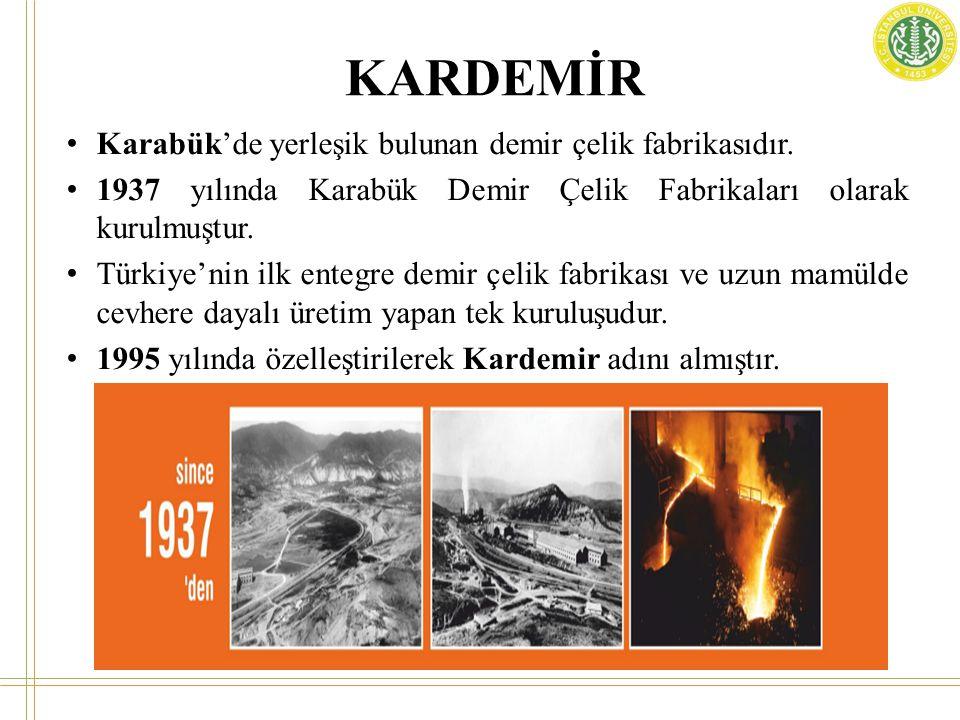 KARDEMİR Karabük'de yerleşik bulunan demir çelik fabrikasıdır.