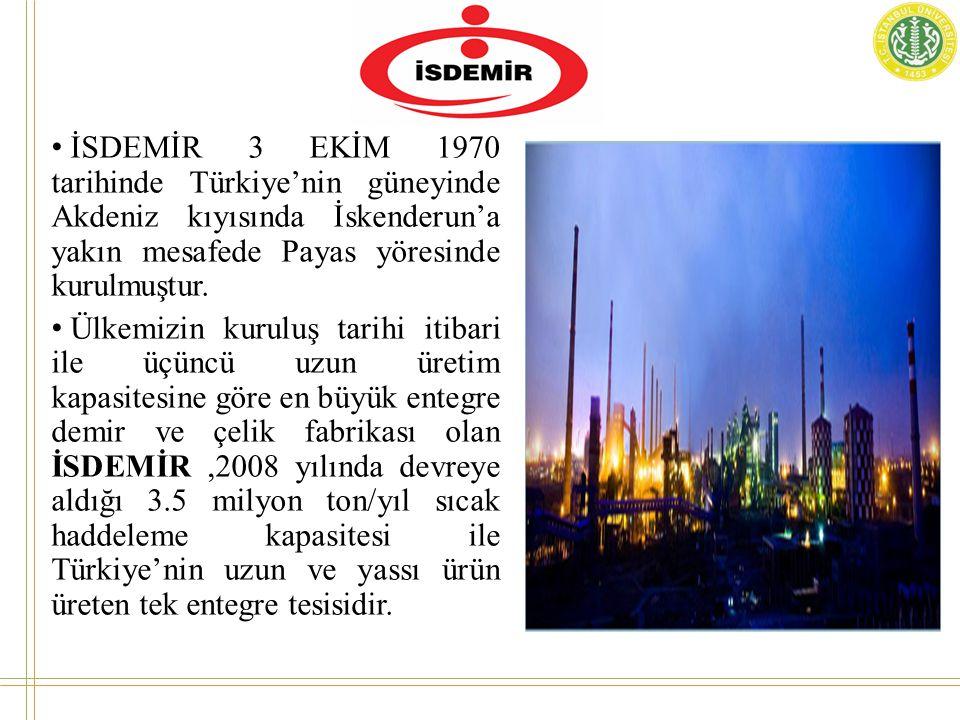 İSDEMİR 3 EKİM 1970 tarihinde Türkiye'nin güneyinde Akdeniz kıyısında İskenderun'a yakın mesafede Payas yöresinde kurulmuştur.