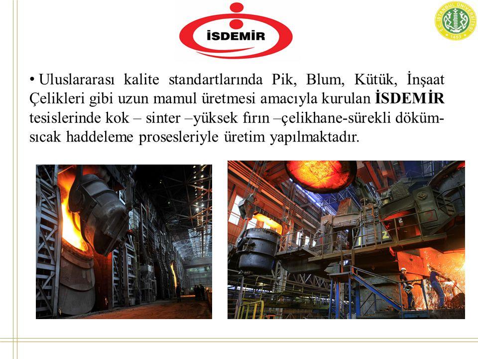 Uluslararası kalite standartlarında Pik, Blum, Kütük, İnşaat Çelikleri gibi uzun mamul üretmesi amacıyla kurulan İSDEMİR tesislerinde kok – sinter –yüksek fırın –çelikhane-sürekli döküm-sıcak haddeleme prosesleriyle üretim yapılmaktadır.
