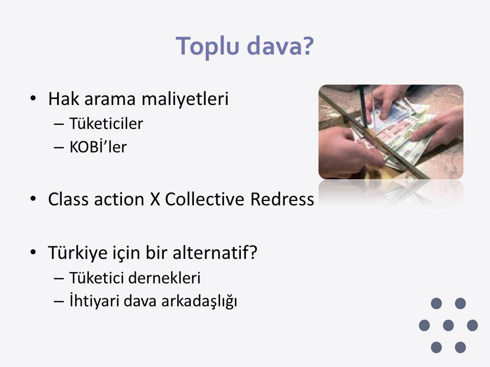 Toplu dava Hak arama maliyetleri Class action X Collective Redress