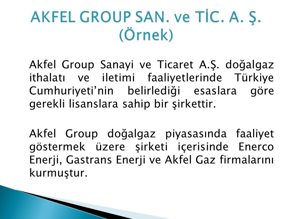 AKFEL GROUP SAN. ve TİC. A. Ş. (Örnek)