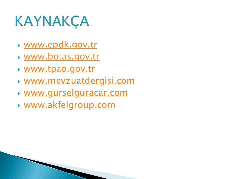 KAYNAKÇA www.epdk.gov.tr www.botas.gov.tr www.tpao.gov.tr