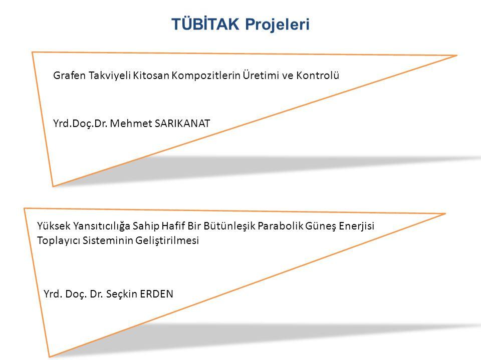 TÜBİTAK Projeleri Grafen Takviyeli Kitosan Kompozitlerin Üretimi ve Kontrolü. Yrd.Doç.Dr. Mehmet SARIKANAT.