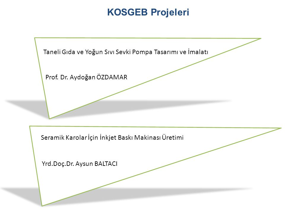 KOSGEB Projeleri Taneli Gıda ve Yoğun Sıvı Sevki Pompa Tasarımı ve İmalatı. Prof. Dr. Aydoğan ÖZDAMAR.