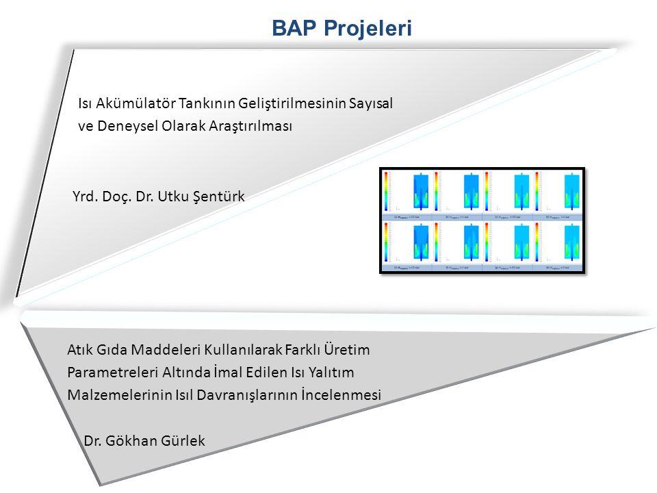 BAP Projeleri Isı Akümülatör Tankının Geliştirilmesinin Sayısal ve Deneysel Olarak Araştırılması. Yrd. Doç. Dr. Utku Şentürk.