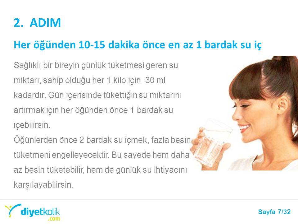 2. ADIM Her öğünden 10-15 dakika önce en az 1 bardak su iç