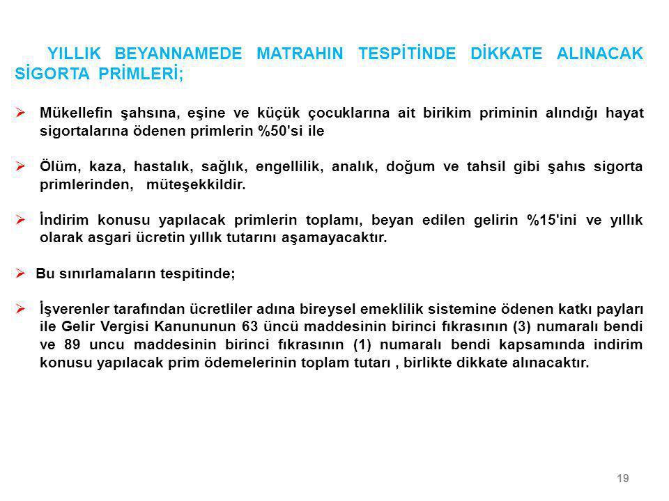 YILLIK BEYANNAMEDE MATRAHIN TESPİTİNDE DİKKATE ALINACAK SİGORTA PRİMLERİ;