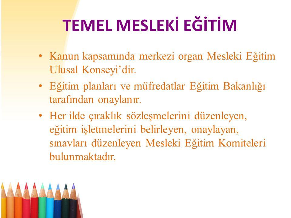 TEMEL MESLEKİ EĞİTİM Kanun kapsamında merkezi organ Mesleki Eğitim Ulusal Konseyi'dir.