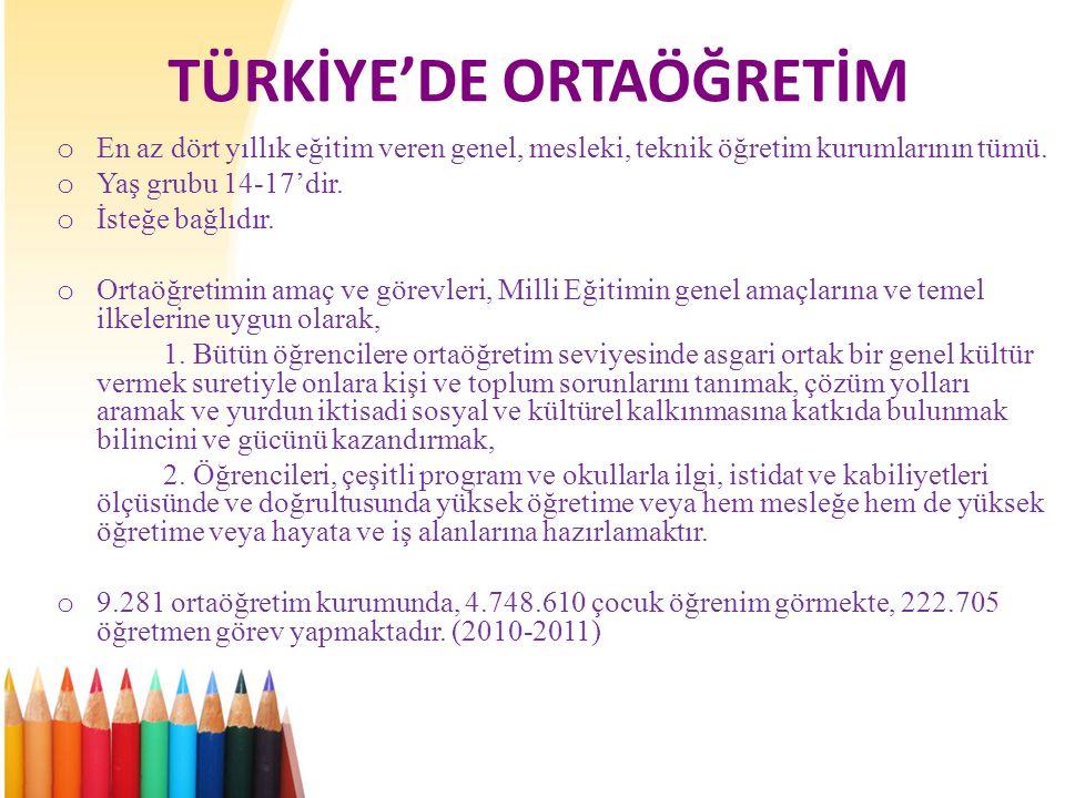 TÜRKİYE'DE ORTAÖĞRETİM