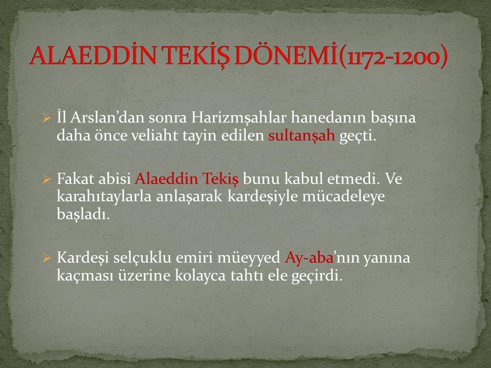 ALAEDDİN TEKİŞ DÖNEMİ(1172-1200)