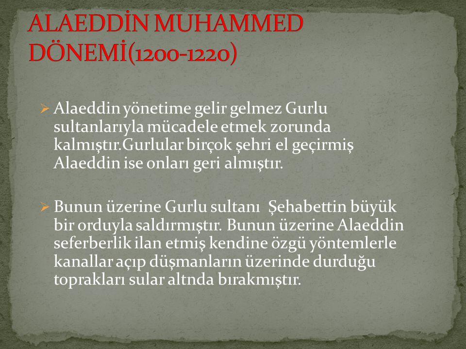 ALAEDDİN MUHAMMED DÖNEMİ(1200-1220)