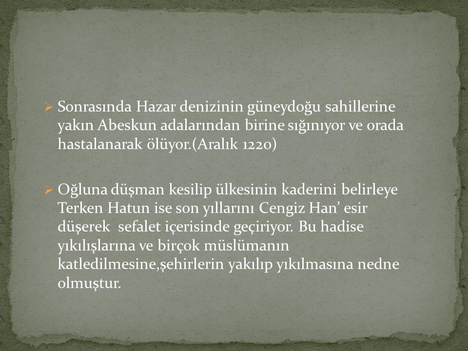 Sonrasında Hazar denizinin güneydoğu sahillerine yakın Abeskun adalarından birine sığınıyor ve orada hastalanarak ölüyor.(Aralık 1220)