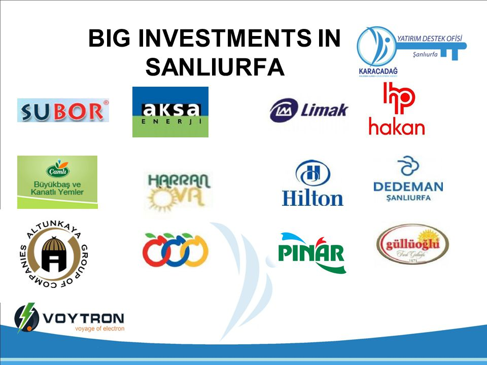 BIG INVESTMENTS IN SANLIURFA