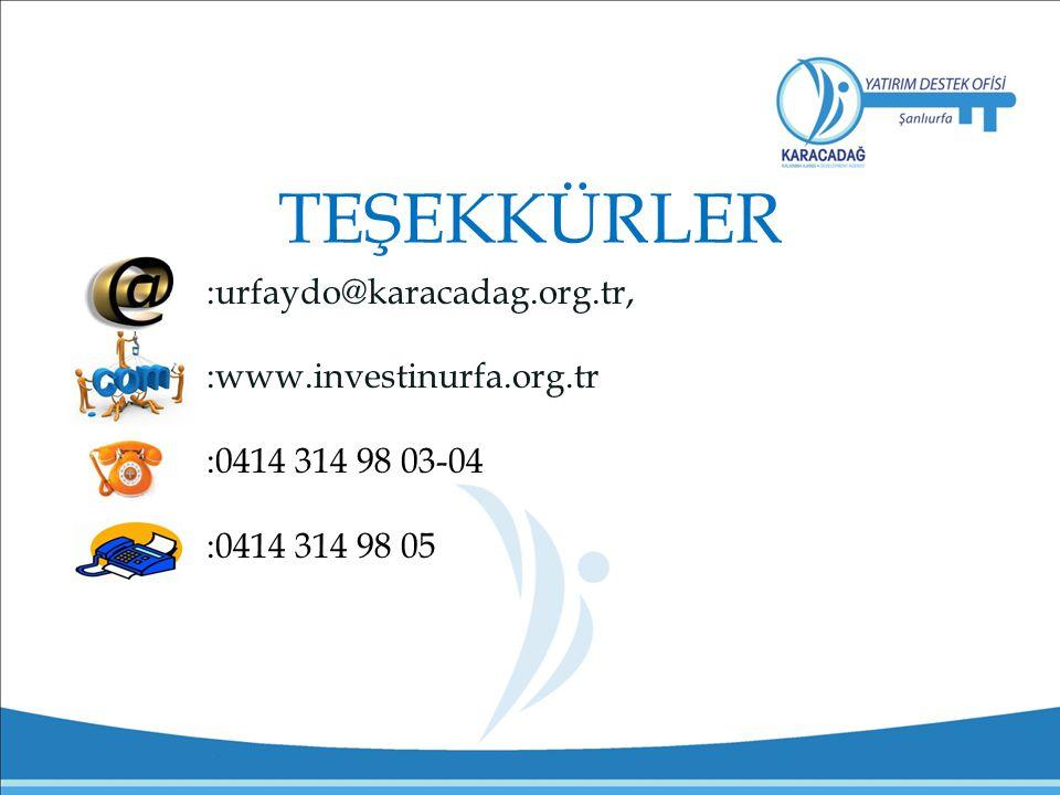 TEŞEKKÜRLER :urfaydo@karacadag.org.tr, :www.investinurfa.org.tr :0414 314 98 03-04 :0414 314 98 05