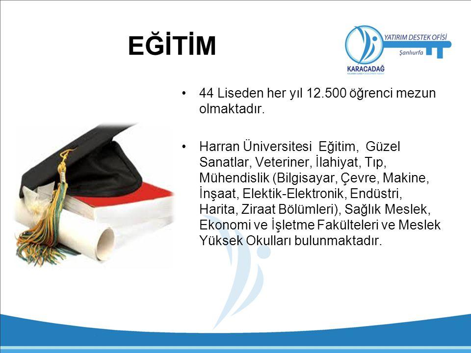 EĞİTİM 44 Liseden her yıl 12.500 öğrenci mezun olmaktadır.