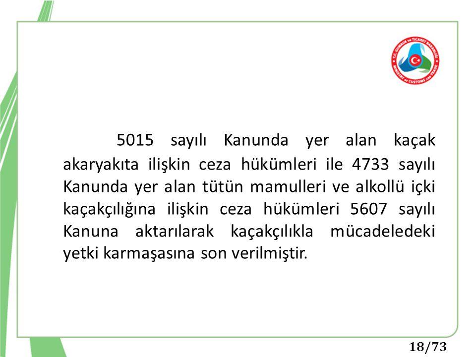 5015 sayılı Kanunda yer alan kaçak akaryakıta ilişkin ceza hükümleri ile 4733 sayılı Kanunda yer alan tütün mamulleri ve alkollü içki kaçakçılığına ilişkin ceza hükümleri 5607 sayılı Kanuna aktarılarak kaçakçılıkla mücadeledeki yetki karmaşasına son verilmiştir.