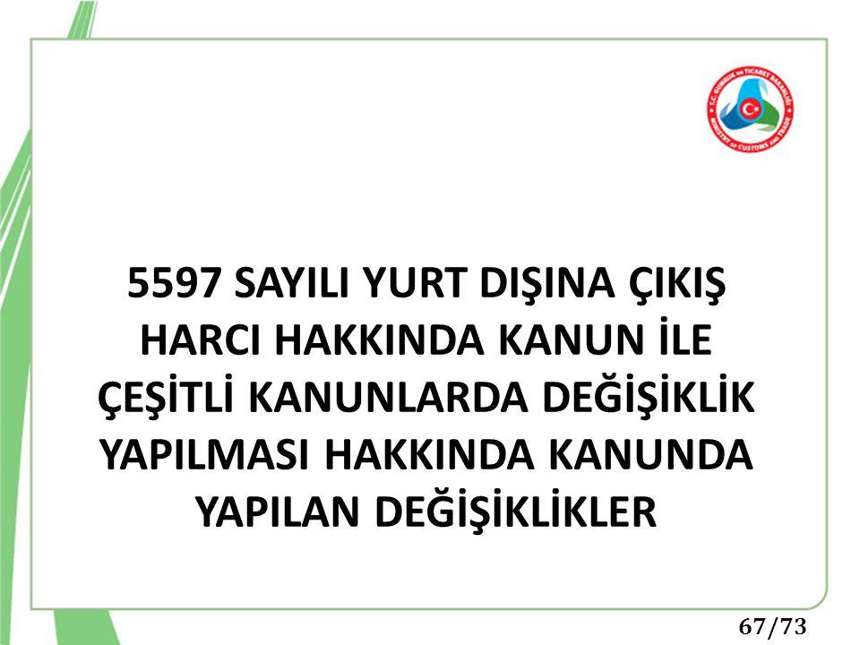 5597 SAYILI YURT DIŞINA ÇIKIŞ HARCI HAKKINDA KANUN İLE ÇEŞİTLİ KANUNLARDA DEĞİŞİKLİK YAPILMASI HAKKINDA KANUNDA YAPILAN DEĞİŞİKLİKLER