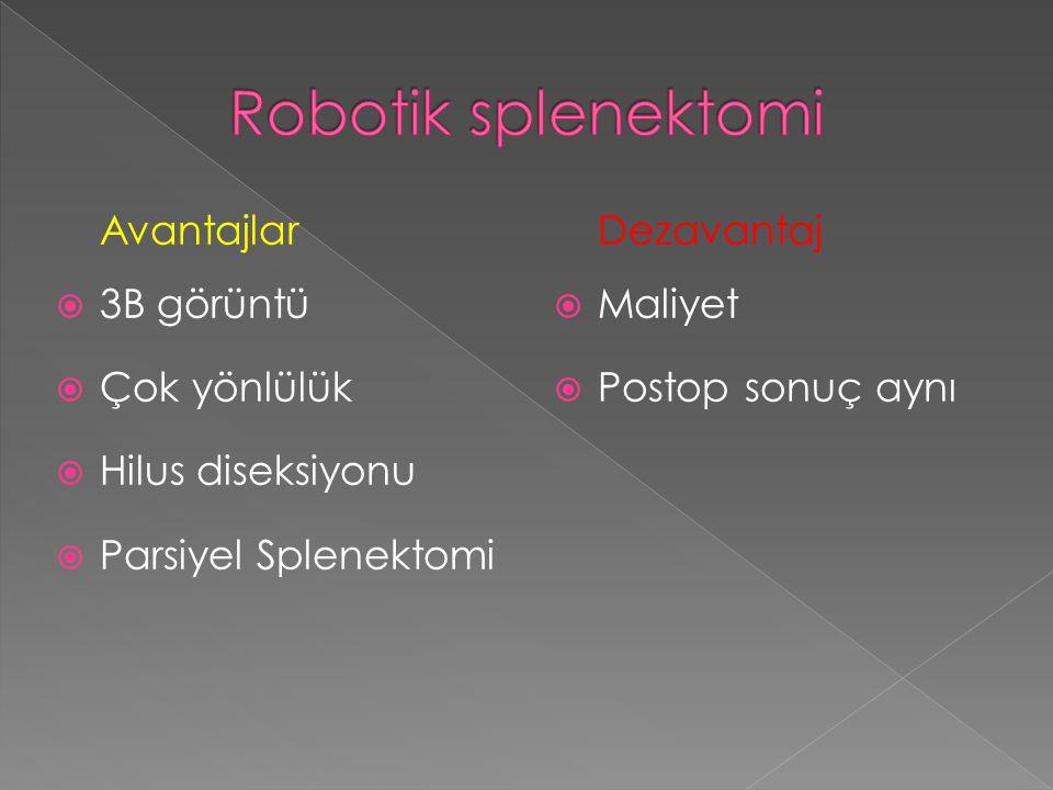 Robotik splenektomi Avantajlar 3B görüntü Çok yönlülük
