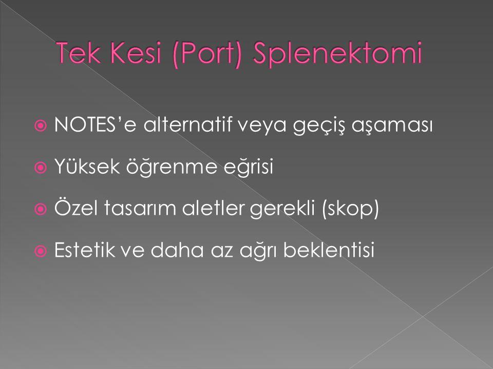 Tek Kesi (Port) Splenektomi
