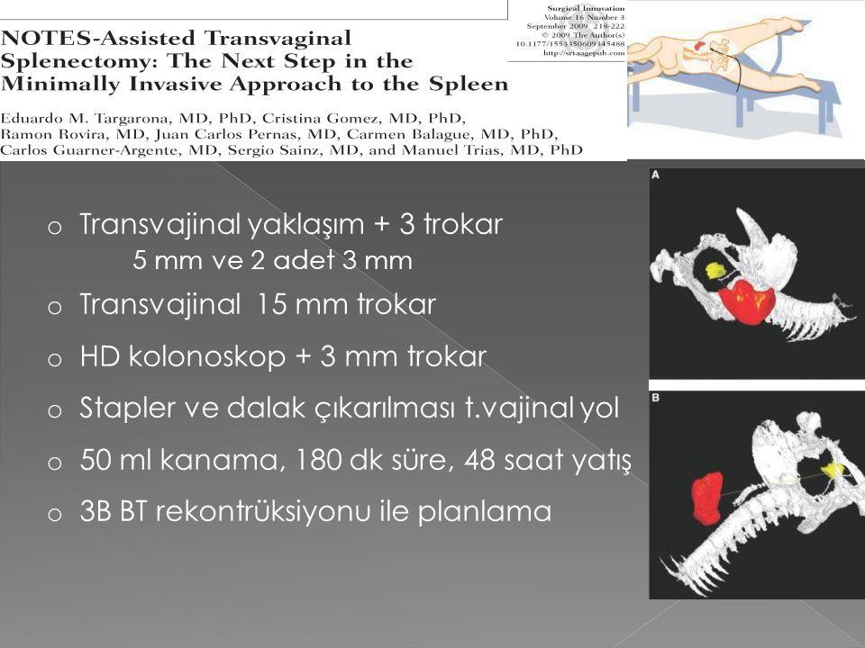 NOTES splenektomi Transvajinal yaklaşım + 3 trokar 5 mm ve 2 adet 3 mm