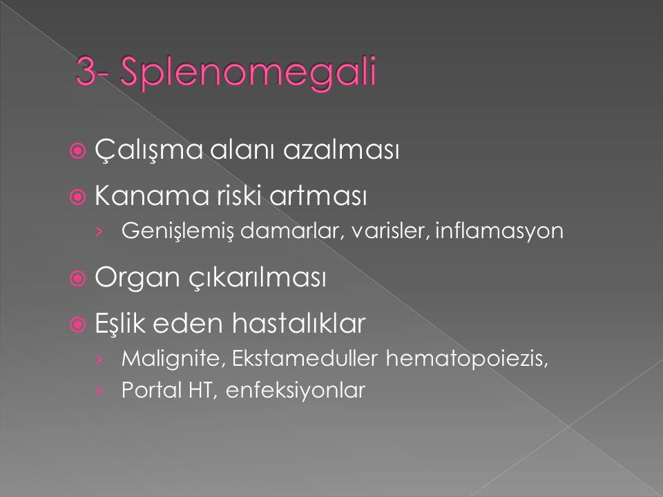3- Splenomegali Çalışma alanı azalması Kanama riski artması