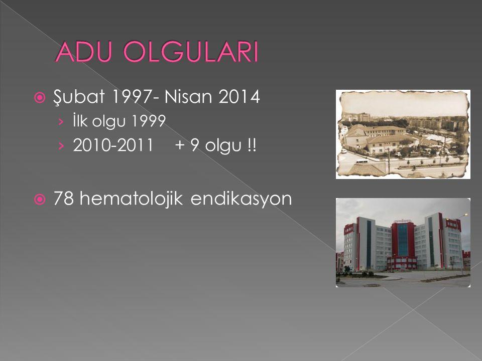 ADU OLGULARI Şubat 1997- Nisan 2014 78 hematolojik endikasyon