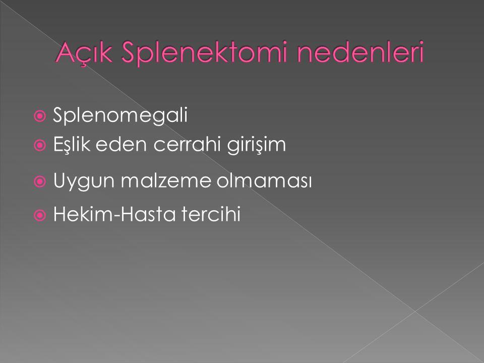 Açık Splenektomi nedenleri