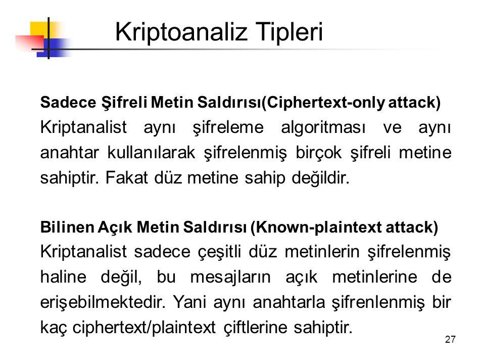 Kriptoanaliz Tipleri Sadece Şifreli Metin Saldırısı(Ciphertext-only attack)