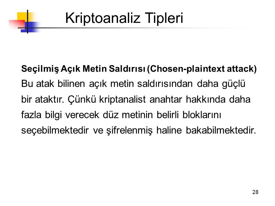Kriptoanaliz Tipleri Seçilmiş Açık Metin Saldırısı (Chosen-plaintext attack)
