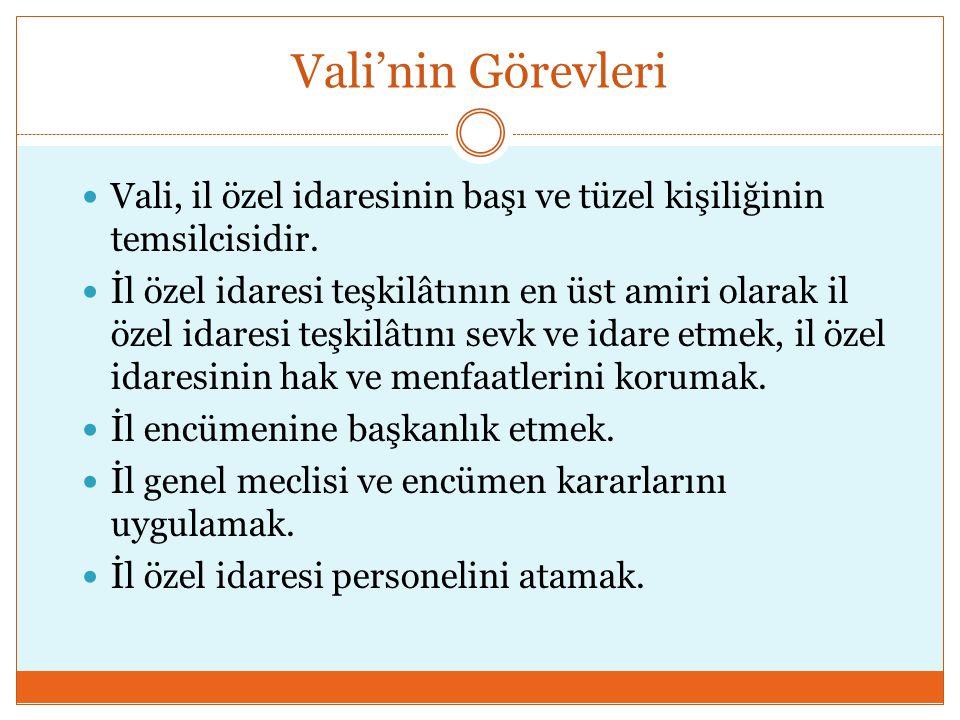Vali'nin Görevleri Vali, il özel idaresinin başı ve tüzel kişiliğinin temsilcisidir.