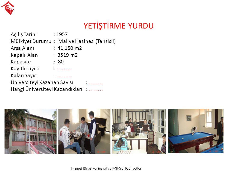Hizmet Binası ve Sosyal ve Kültürel Faaliyetler
