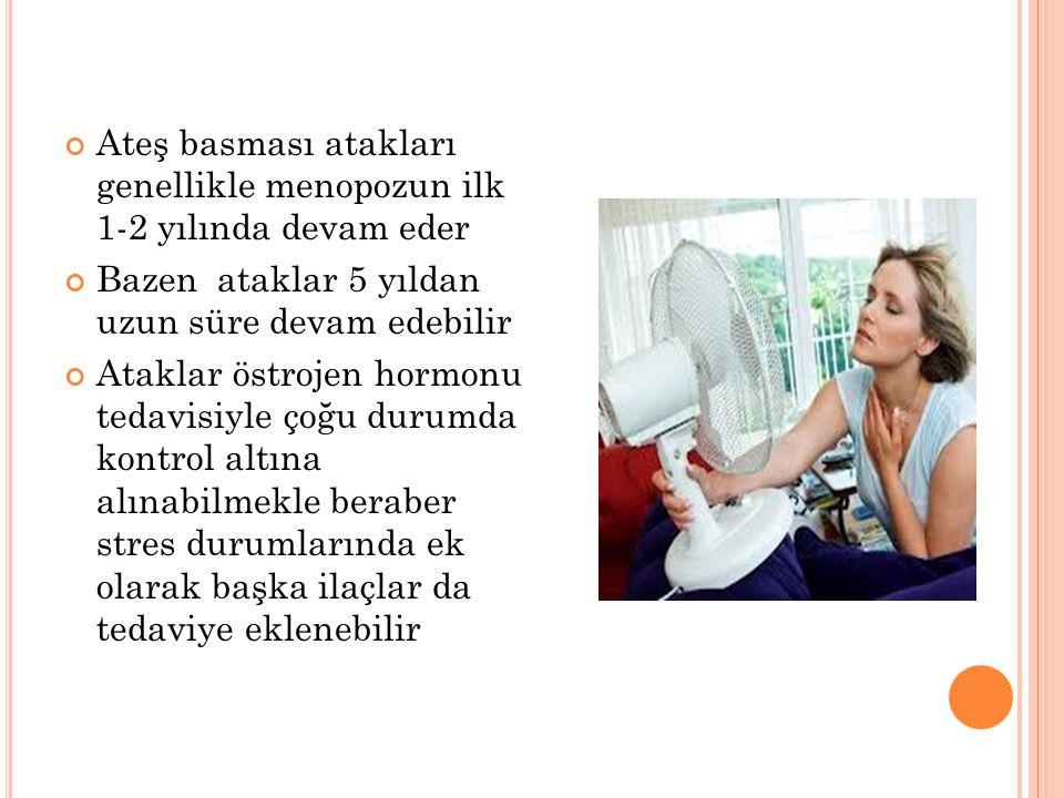 Ateş basması atakları genellikle menopozun ilk 1-2 yılında devam eder