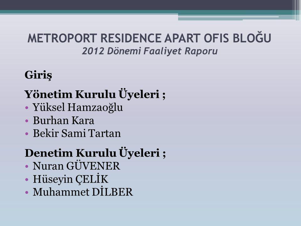 METROPORT RESIDENCE APART OFIS BLOĞU 2012 Dönemi Faaliyet Raporu