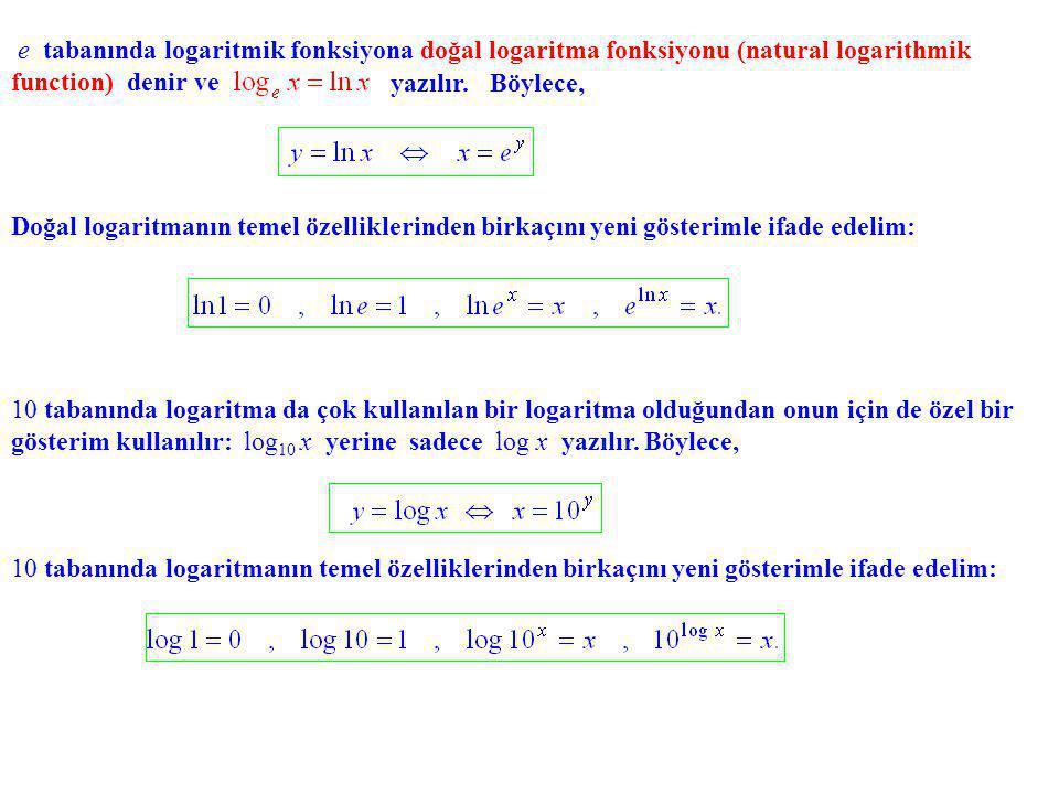 e tabanında logaritmik fonksiyona doğal logaritma fonksiyonu (natural logarithmik function) denir ve
