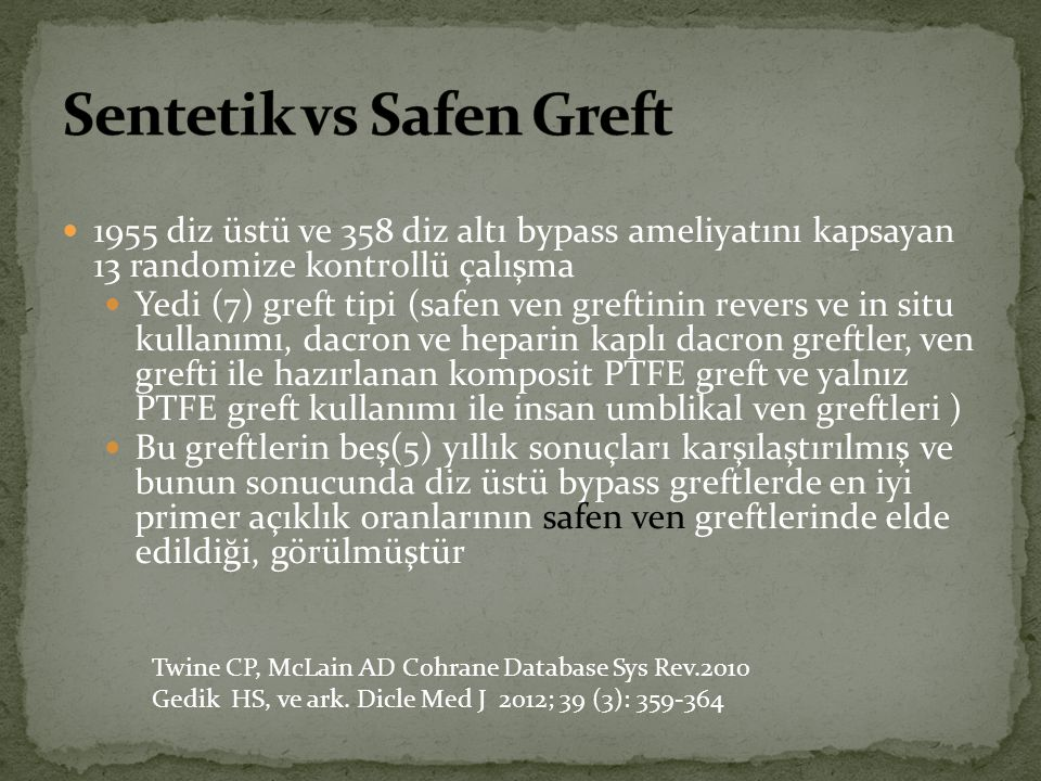 Sentetik vs Safen Greft