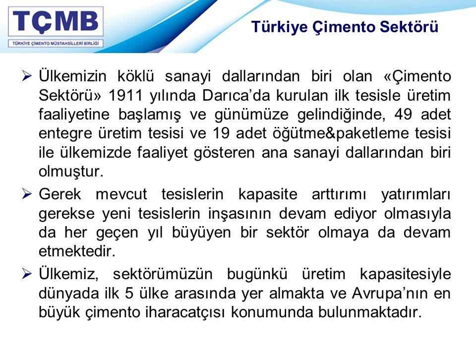 Türkiye Çimento Sektörü