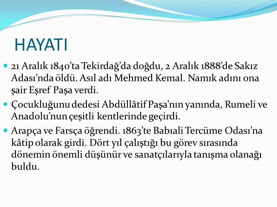 HAYATI 21 Aralık 1840'ta Tekirdağ'da doğdu, 2 Aralık 1888'de Sakız Adası'nda öldü. Asıl adı Mehmed Kemal. Namık adını ona şair Eşref Paşa verdi.