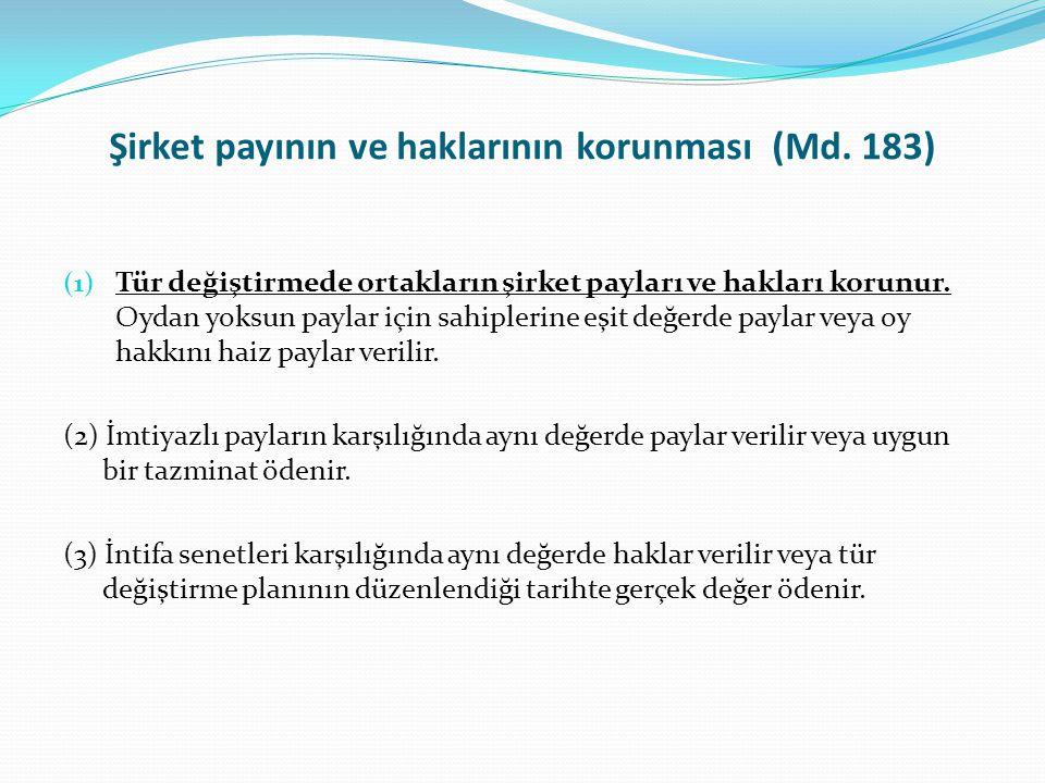 Şirket payının ve haklarının korunması (Md. 183)