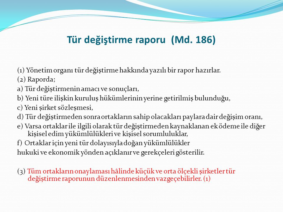 Tür değiştirme raporu (Md. 186)