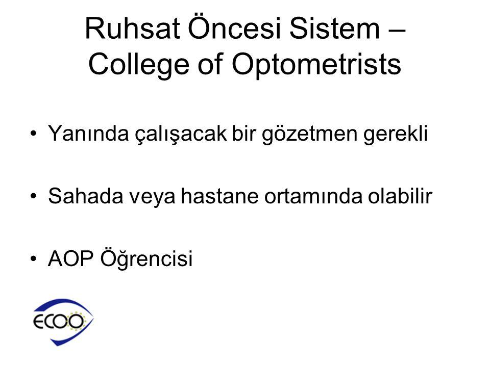 Ruhsat Öncesi Sistem – College of Optometrists