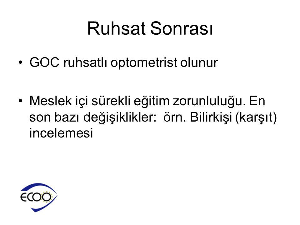 Ruhsat Sonrası GOC ruhsatlı optometrist olunur