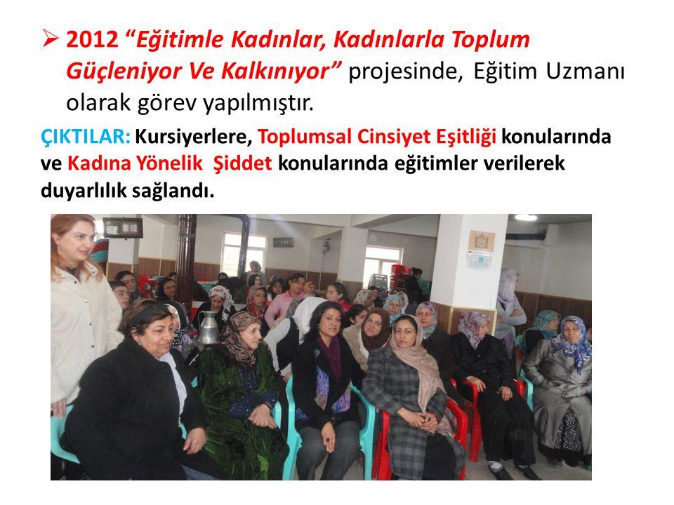 2012 Eğitimle Kadınlar, Kadınlarla Toplum Güçleniyor Ve Kalkınıyor projesinde, Eğitim Uzmanı olarak görev yapılmıştır.
