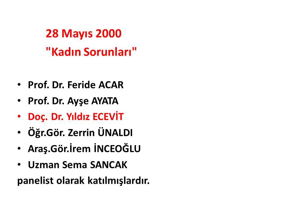 28 Mayıs 2000 Kadın Sorunları Prof. Dr. Feride ACAR