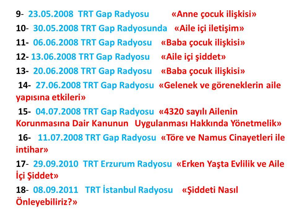 9- 23. 05. 2008 TRT Gap Radyosu «Anne çocuk ilişkisi» 10- 30. 05